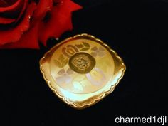 Art Deco LA MODE Tri-Color Gold Plated Powder Rouge Compact w/ Eagle Motif 1930s SOLD