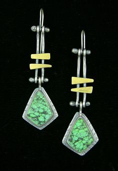 Elaine Rader Jewelry Galleries— Hinged Chinese Turquoise Earrings  Sterling silver, 2 1/4 inch, on post.  $165.00