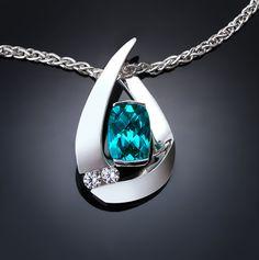 blue topaz pendant, turquoise blue topaz, Argentium silver necklace, white sapphire, contemporary jewelry, eco-friendly - 3378
