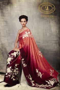 Ashdeen gara Indian Attire, Indian Wear, Indian Dresses, Indian Outfits, Embroidery Saree, Hand Embroidery, Saree Dress, Saree Blouse, Stylish Sarees