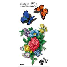399c9fa69 Oottati Spring Romantic Meet - Butterfly Flowers Clavicle Temporary Tattoo  (2 Sheets) >>> Click image to review more details. (This is an affiliate  link) # ...