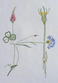 Field flowers alphabet - H