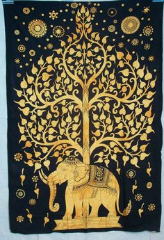 Kayso Elephant Tree Tapestry with Good Luck White Elephant Tapestry Hippie Gypsy Wall Hanging Tree of Life Tapestry and New Age Dorm Tapestry, White/Black Tapestry Bedding, Dorm Tapestry, Elephant Tapestry, Indian Tapestry, Bohemian Tapestry, Mandala Tapestry, Tapestry Wall Hanging, Dorm Bedding, Hippie Tapestries