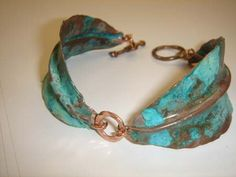 Copper Leaves Bracelet-cuff Turquoise patina handmade-Hammered and forged