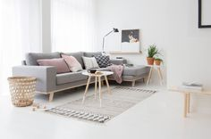 Warm interior with a traditional Scandinavian touch. Heavily inspired by the light grey with the light, pastel pink used to keep the interior neutral but warm. Pastel pink and light grey compliment the wood furniture and white walls. FAVOURITE: - Angled leg coffee table - Live plants - pastel pink/lilac: