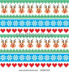 Christmas pattern with reindeer pattern - Scandinavian sweater style