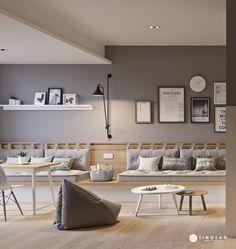 汀澜行政公寓-gray on Behance Apartment Interior Design, Cafe Interior, Tanzstudio Design, Appartement Design Studio, Small Studio Apartment Design, Small Space Design, Contemporary Interior Design, Shop Interiors, Small Apartments