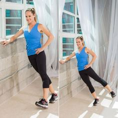 Strength Training Exercises: Outer-Thigh Toner - The Up-Against-the-Wall Workout - Shape Magazine - Page 5 Fun Workouts, At Home Workouts, Thigh Toner, Strength Training Workouts, Training Exercises, Wall Workout, Ankle Weights, Outer Thighs, Shape Magazine