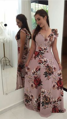 106 elegant floral print long dress – page 1 Dress Outfits, Casual Dresses, Formal Dresses, Modest Fashion, Fashion Outfits, African Maxi Dresses, Trend Fashion, Lovely Dresses, Pretty Outfits