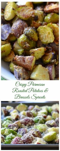 This fabulous lightly seasoned Crispy Parmesan Potatoes and Brussels Sprouts combines both red and purple potatoes with Brussels sprouts and Parmesan. The result is flavorful oven roasted vegetables with a crisp Parmesan crunch.