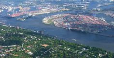 Aerial view of the container port in Hamburg with Köhlbrand Bridge (right top) and district Othmarschen (front right). Near the center (to the left) is the senior pen to recognize Augustinum Hamburg with its glass dome, the former Union Cold Store in Hamburg-Ottensen (front left) with district and ferry Neumühlen. Looking south-east.