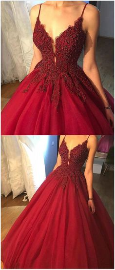 Spaghetti Straps Ball Gown prom Dress,Burgundy Prom Dress,Beading party Dress,Tulle Long Prom/Evening Dress with Appliques