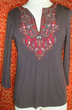 DESIGN HISTORY brown 3/4 sleeve stretch viscose boho tunic blouse M (T23-01H5F) #DesignHistory #Blouse #Casual