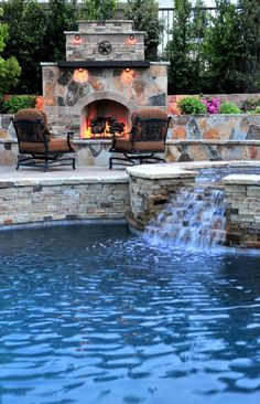 Luxurious mediterranean stone wall pool with patio furniture with outdoor fireplace with stone fireplace and stone pool trim. Outdoor chair pool with water feature with hot tub., 29 designs in Pool Waterfall Ideas gallery Pool Spa, Outdoor Swimming Pool, Backyard Pools, Indoor Pools, Backyard Beach, Lap Pools, Backyard Retreat, Beach Pool, Backyard Landscaping