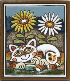 Cat Ceramic picture (two flowers - tall blue) handcrafted & shaped by hand, created in a Czech Pottery in South Bohemia - size of plaque 19.5 x 22.5 x 1.2 cm ★༺❤༻★