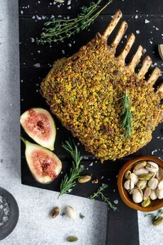 This roasted rack of lamb is coated with a delicious pistachio herb crust. It's a perfect special occasion dinner that will impress – without much effort on your part! #lamb #roastedlamb #dinner #pistachio #lambrecipe #christmasrecipe #pinacooks #italianrecipes | pinabresciani.com @pinabresciani