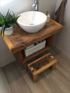 Bathroom ideas. vanity from old barn wood, combined with newer wood. Picture only
