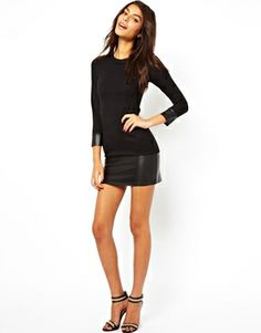 ASOS PETITE Exclusive Shift Dress with PU Cuff and Hem