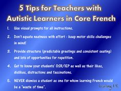5 Tips for French Teachers with autistic students integrated in their classes… Foreign Language Teaching, Autism Teaching, French Language Learning, Teaching Tips, French Teacher, Teaching French, Teacher Blogs, Teacher Resources, French Education