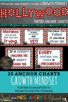 Create a positive classroom atmosphere with these Hollywood themed Growth Mindset posters and teach your students how to face challenges inside and outside of your classroom!  Also included is a PowerPoint for teachers who are seeking positive motivation with a morning message! Click here to take a look, and discover the ease of transforming one of your bulletin boards!