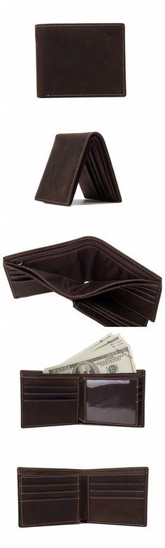 Handmade Wholesale Genuine Leather Wallet Money Purse Bag Men Short Wallet Card Holder