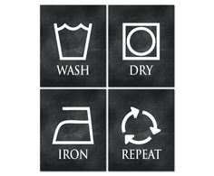 Wash Dry Iron Repeat Laundry Room Art - Wall Decor - Set of Four Laundry Prints - Laundry Symbols - Laundry Prints - Wall Art by SusanNewberryDesigns on Etsy Laundry Room Art, Laundry Room Organization, Laundry Room Design, Laundry Symbols, Wall Decor Set, Art Sketches, Wall Art Prints, Photos, Iron