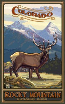 Amazon.com: Northwest Art Mall Rocky Mountain National Park Colorado Elk Artwork by Paul A Lanquist, 11-Inch by 17-Inch: Home & Kitchen
