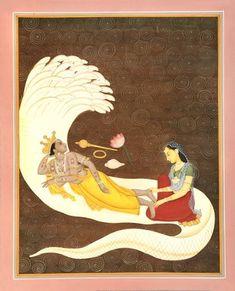 Shesha-Shayi Vishnu With Goddess Lakshmi, Hindu Water Color Painting On Paper Mother Kali, Watercolor Paintings, Artwork Paintings, Hindu Statues, Hindu Rituals, Thangka Painting, Lord Vishnu Wallpapers, Book Sculpture, Goddess Lakshmi