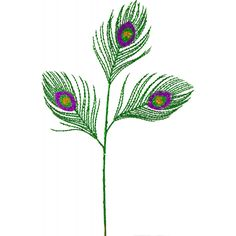 """Green Glitter Peacock Feather Floral Spray (21"""")"""