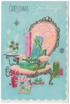 Vintage Greeting Card Christmas Fireplace Interior Pastel Pink Chair (L460)