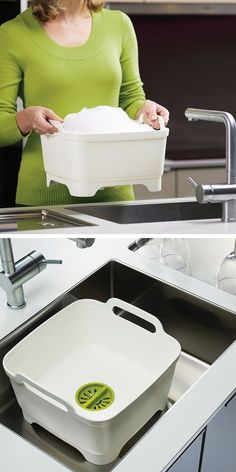 101 Objects For Your Home That Will Make Your Life Simpler,Wash & Drain Joseph Joseph dishwashing bowl to avoid clogging the sink - also to be used as an additional rinsing tank Indispensable kitchen gadgets f.