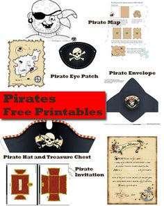 Pirates! pirate hat, pirate ship, pirate party invitation, pirate map, pirate tracing sheet, pirate eye-patch: Free printables!