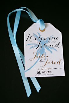 Destination Wedding Welcome Bag Gift Tag In Blue