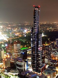 Melbourne at Night, Australia.  Photo:  geoftheref, via Flickr