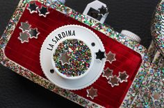 A cheap plastic camera doesn't have to be naked and ugly! Here are some of my works on various 'toy' cameras …    Stardust La Sardina : The most girly design I've done … a La Sardina for a friend. #Lomography #Cameras #LomographyCameras