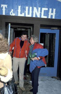 Ethel Kennedy and William Kennedy on a ski trip to Aspen, December 1977.