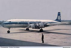 "KLM - Royal Dutch Airlines Douglas DC-7 PH-DSEDüsseldorf International (DUS / EDDL)  1961  ""Irish Sea"" during a scheduled stop at DUS. These were my first weeks in an almost 40 years lasting KLM careerGünter Grondstein"