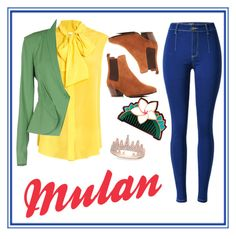 """""""Mulan 2.0"""" by mali-likes ❤ liked on Polyvore featuring Moschino, Annarita N., Disney, Sam Edelman and Anne Sisteron"""