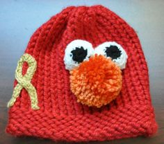Loom Knit Elmo hat