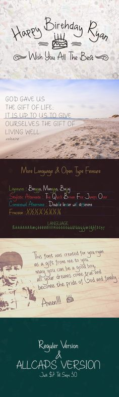 Happy Birthday Ryan & Allcaps. Script Fonts. $15.00