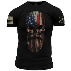 Grunt Style American Beard Skull Men's T-Shirt (Buy a T-shirt Today to Send a Gift) Grunt Style Shirts, Cool Shirts, Tee Shirts, Skull Shirts, Usa Shirt, Branded T Shirts, Shirt Designs, Mens Tops, Clothes