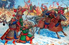 Mongol army rampaging in Russia