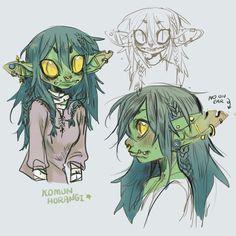 """Doing some Nott studies 🌱 we love a goblin girl Fantasy Character Design, Character Creation, Character Design Inspiration, Character Concept, Character Art, Concept Art, Monster Characters, Dnd Characters, Fantasy Characters"