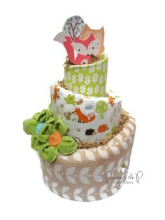 Woodland Fox Topsy Turvy Diaper Cake, Baby Shower, Centerpiece, what does the fox say, Nursery Decor, Fox, Owl, fall, autumn by PrincessAndThePbaby on Etsy https://www.etsy.com/listing/165749266/woodland-fox-topsy-turvy-diaper-cake