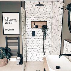 Upstairs Bathrooms, Bathroom Renos, Remodel Bathroom, Shower Remodel, Bathroom Tub Shower, White Bathroom Tiles, Ikea Bathroom, Rain Shower, Bathroom Layout