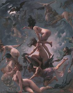 """Luis Ricardo Falero, """"Witches Going to Their Sabbath (or The Departure of the Witches)"""" oil on canvas. A dramatic painting that shows the power of a group of witch, great study in their motion, sex appeal, evilness and force. Art And Illustration, Street Art Graffiti, Fantasy Kunst, Fantasy Art, Fantasy Women, Walpurgis Night, Drawn Art, Beltane, Fine Art"""