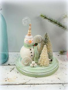Snowman // Christmas Decoration // Folk Art by CatandFiddlefolk
