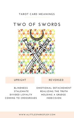 Two of Swords Tarot Meaning: Love, Health, Money & More - When the Two of Swords tarot card falls upright, it represents an internal or external battle. Two Of Swords, Tarot Astrology, Tarot Card Meanings, Cartomancy, Tarot Spreads, Tarot Readers, Tarot Decks, Tarot Cards, Runes