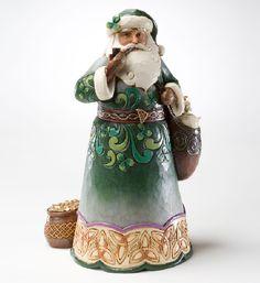 Jim Shore Santa Figurine - Green Irish Santa Claus