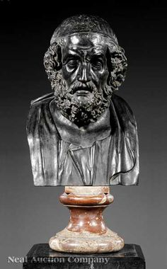 """A Bronze Bust of """"The Blind Poet Homer"""" Circa 150 B.C.E. Hellenistic 23 Inches High x 13 Inches Wide x 12 Inches Deep Artist: Unknown Museum: National Archaeological Museum, Naples Time Period: Greek"""